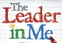 """The Leader in Me"" written in crayon"